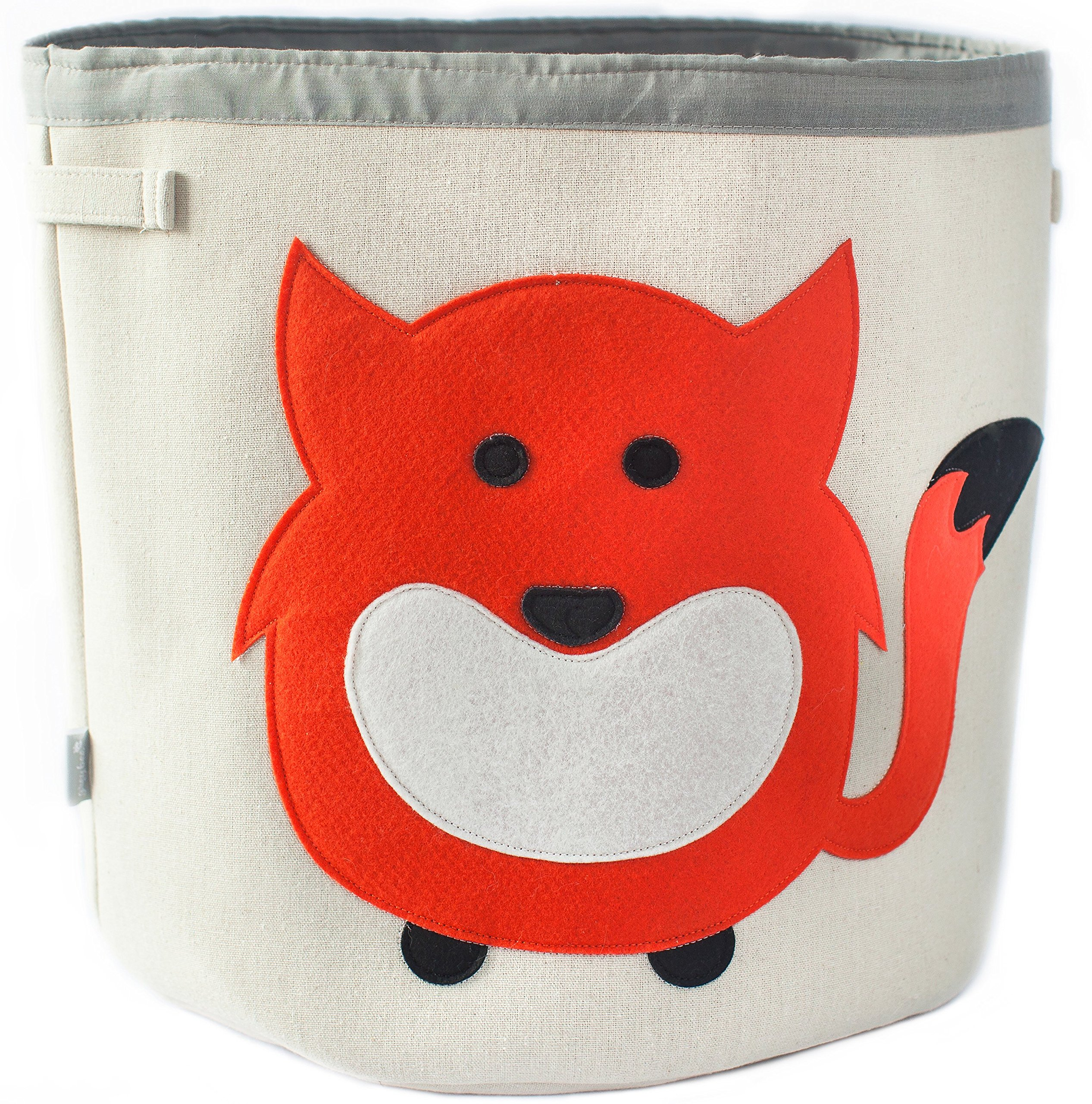 Grey Bee Animal Theme Collapsible Canvas Storage Bin for Kids, Red - Fox by Grey Bee