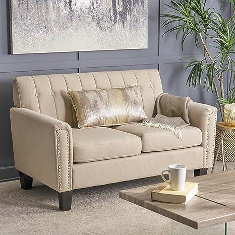 Great Deal Furniture 303940 Jasmine Traditional Wheat Fabric Loveseat, Dark Brown