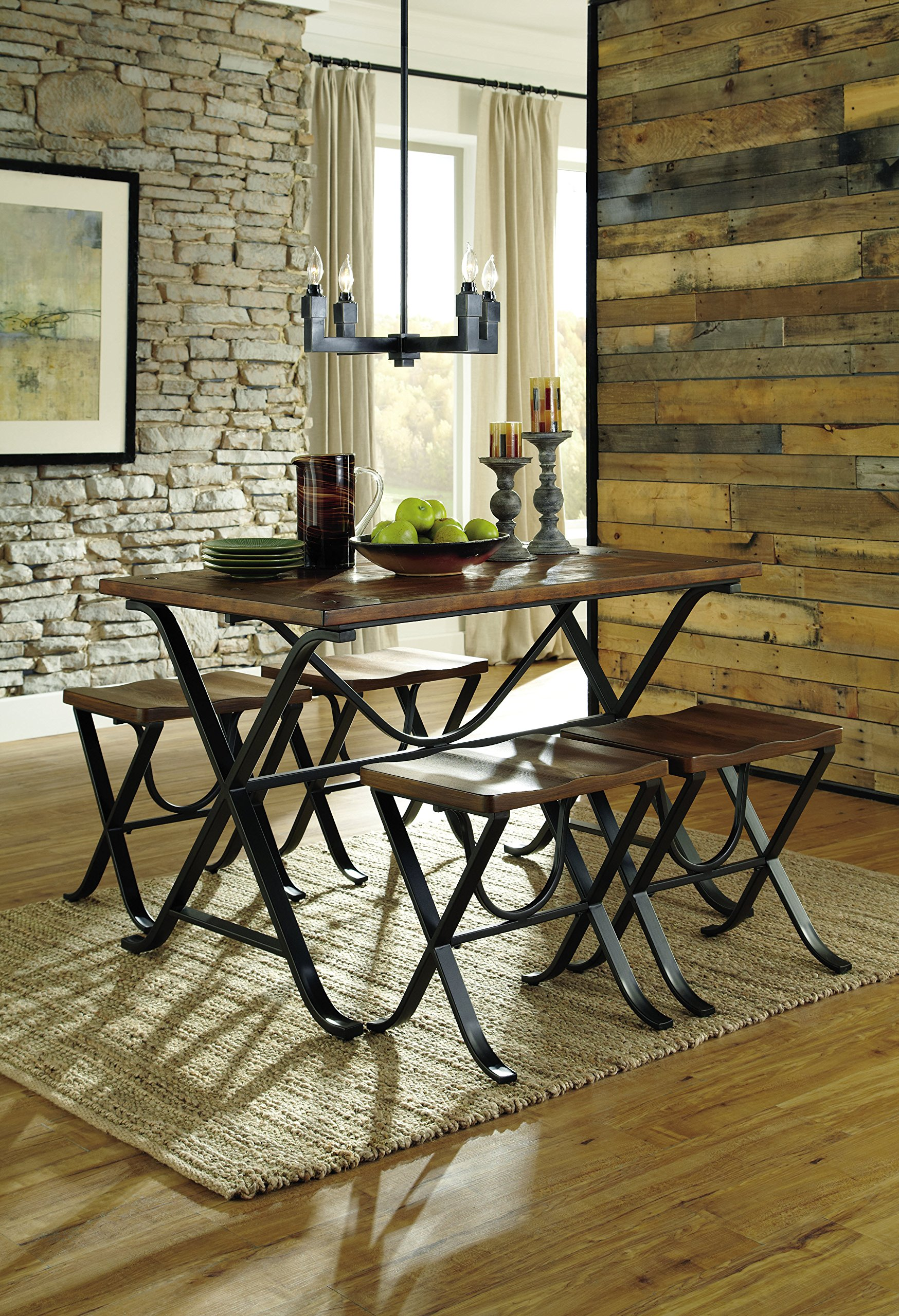Ashley Furniture Signature Design - Freimore Dining Room Table and Stools - Set of 5 - Medium Brown Wood Top and Black Metal Legs by Signature Design by Ashley (Image #6)