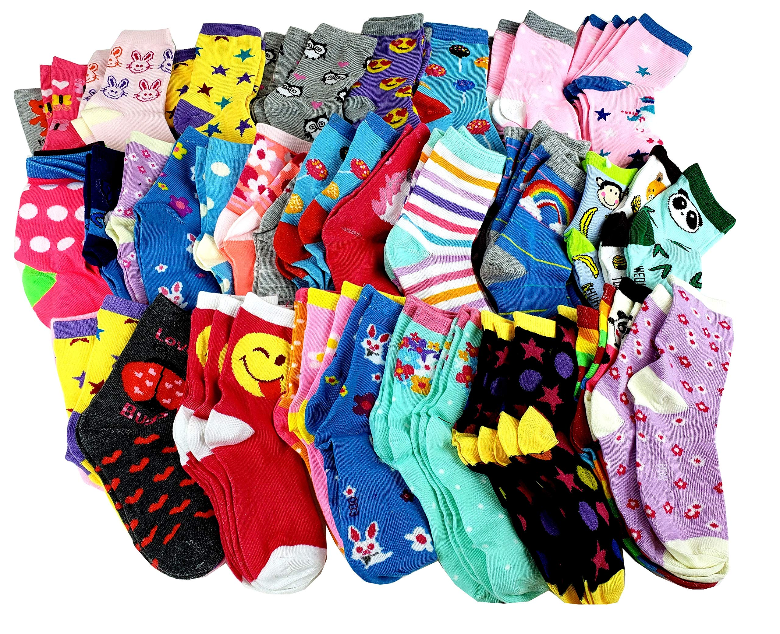 100 Pairs Wholesale Bulk lot Kids Girls Assorted Novelty Design Crew Socks (4-6, Assorted)