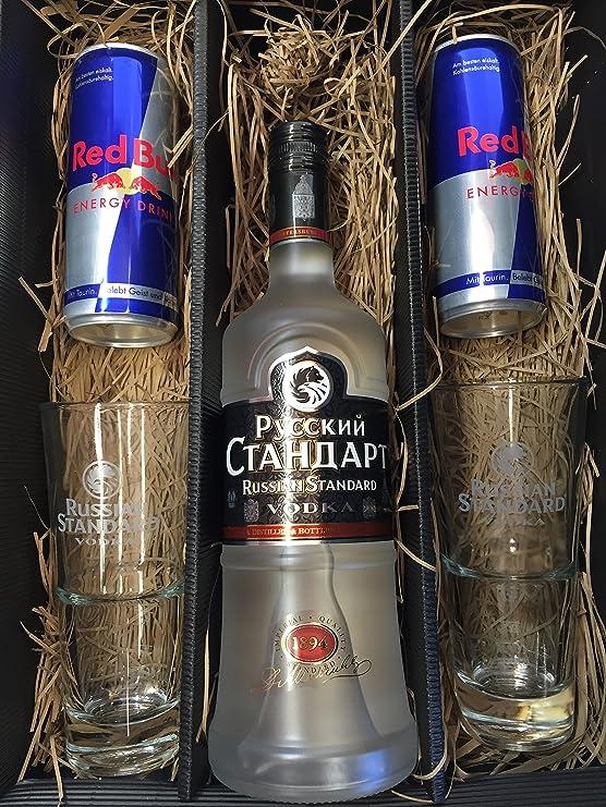 Russian Standard Vodka Set/Geschenkset -Russian Standard Vodka 0,7l 700ml (40% Vol) + 2x Gläser + 2x Red Bull 250ml - Inkl. P