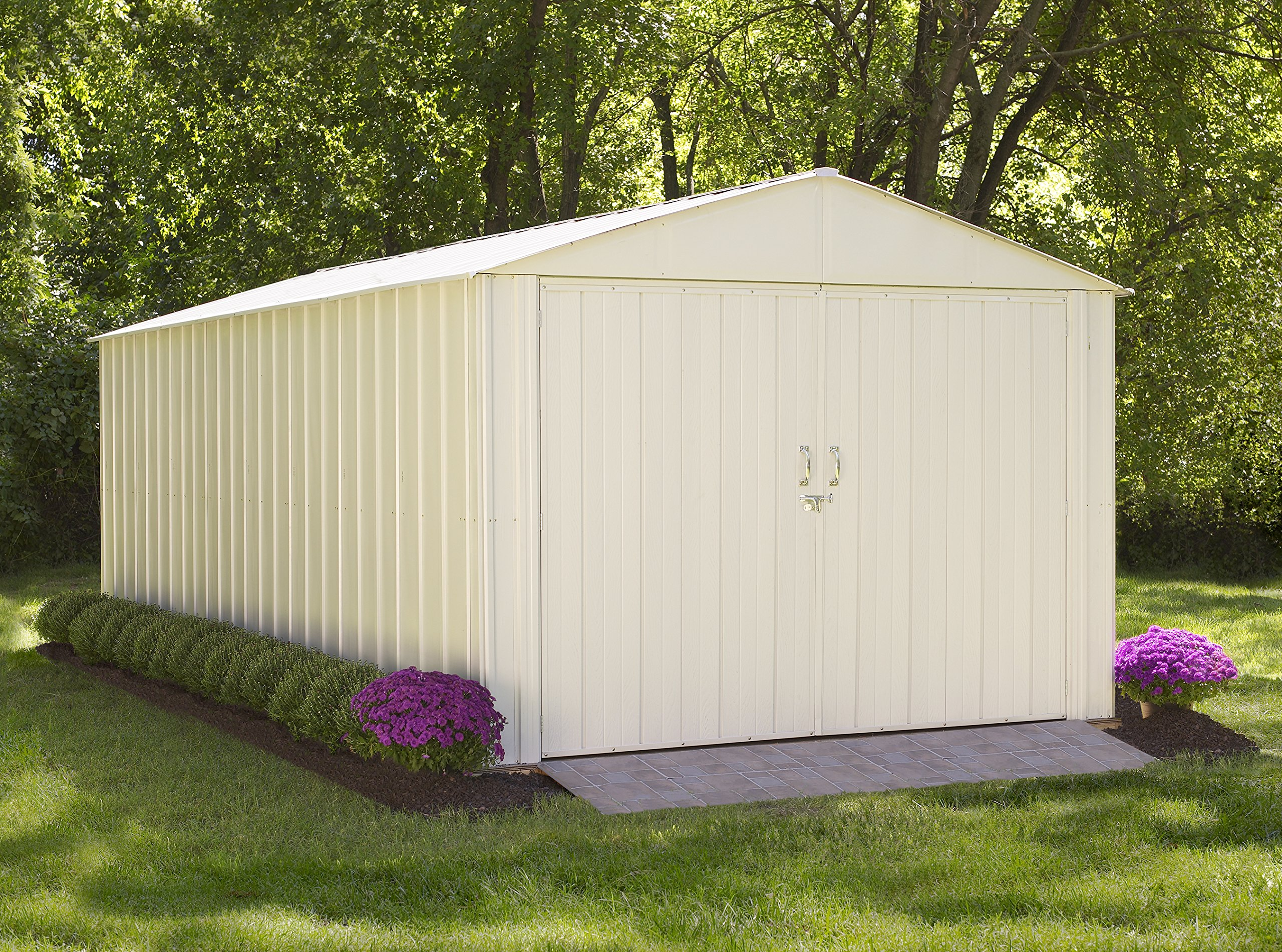 Commander Hot Dipped Galvanized Steel, Eggshell, High Gable, 71.3'' Wall Height, Extra Wide Swing Doors(3,0 x 6,1 m)