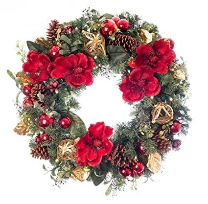 artificial pre lit led decorated christmas wreath red magnolia decorations 100 - Magnolia Christmas Decor
