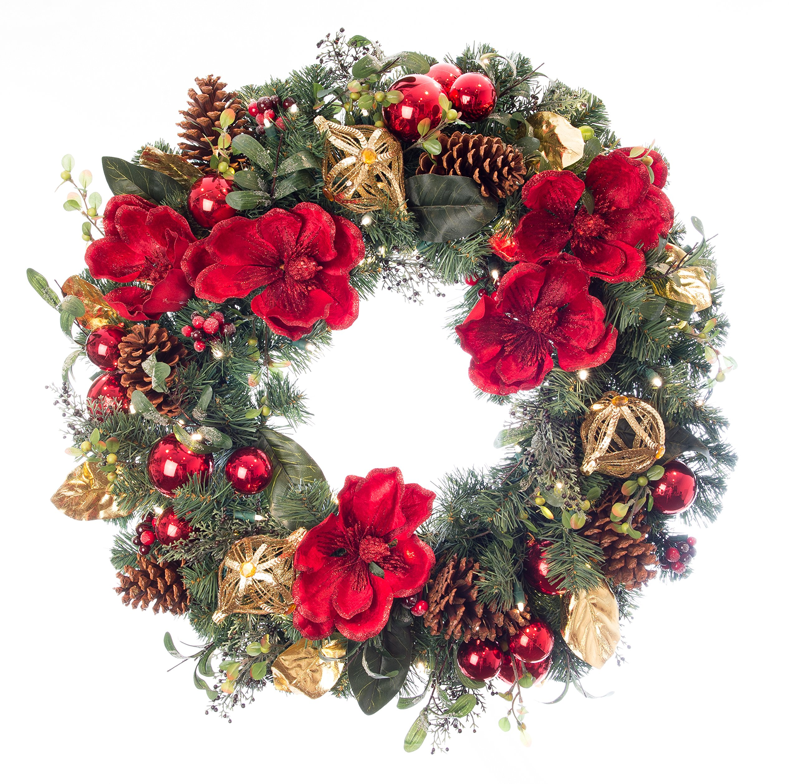 Magnificent Magnolia Red 30 '' Pre-lit Decorated Wreath by Village Lighting