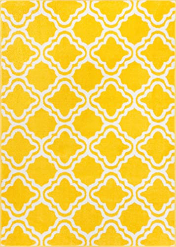 Well Woven StarBright Calipso Modern Geometric Trellis Yellow 5' x 7' Kids Area Rug
