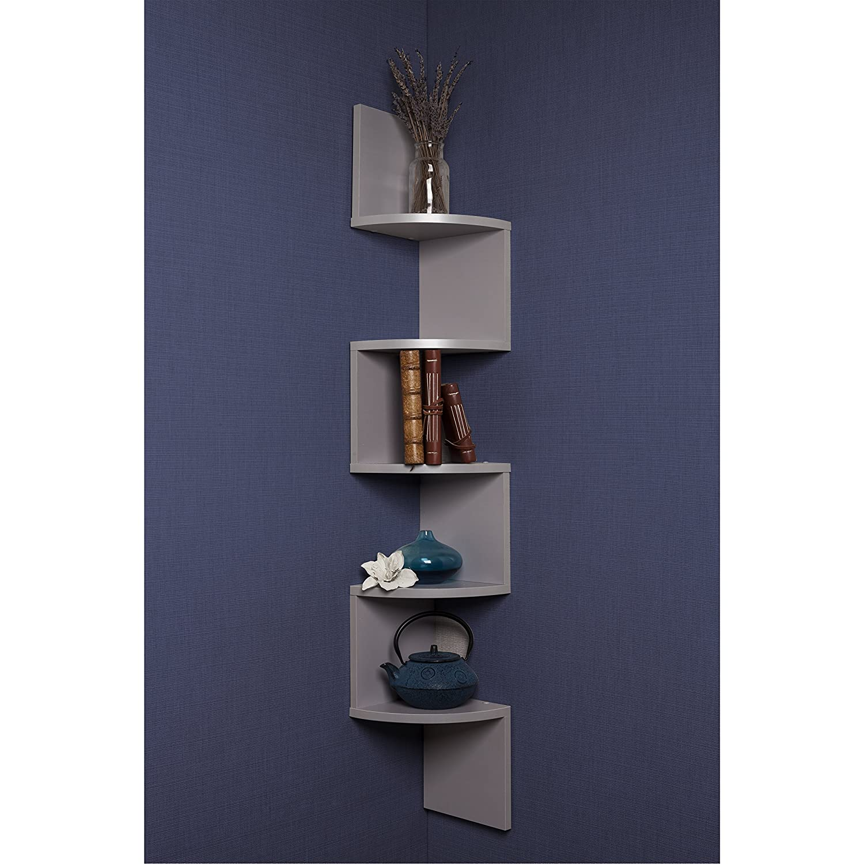 Design Corner Wall Shelf amazon com danya b xf11035gr corner wall mount shelves grey home kitchen