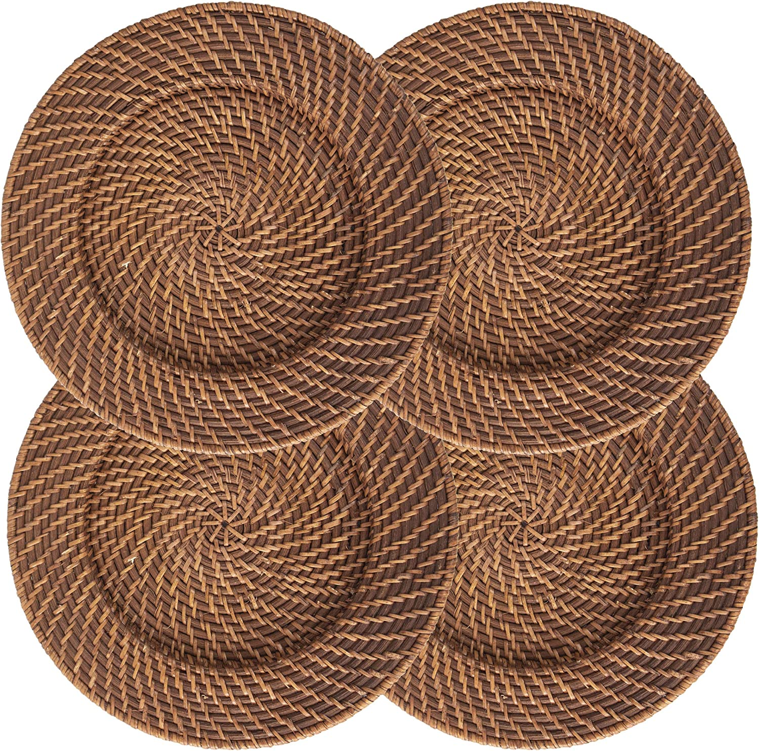   Set of 4 Pack Wicker Charger Plates for Dinner, Party, Wedding   Woven Rustic Dinnerware Tableware Decoration Placemat Alternative (Brown): Charger & Service Plates