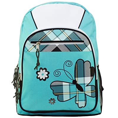 17 inch Turquoise Plaid Butterfly Student Bookbag Backpack