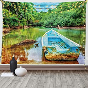 Ambesonne Landscape Tapestry, Old Boat in Tropical River in National Park of Costa Rica Nature Photo, Wide Wall Hanging for Bedroom Living Room Dorm, 80