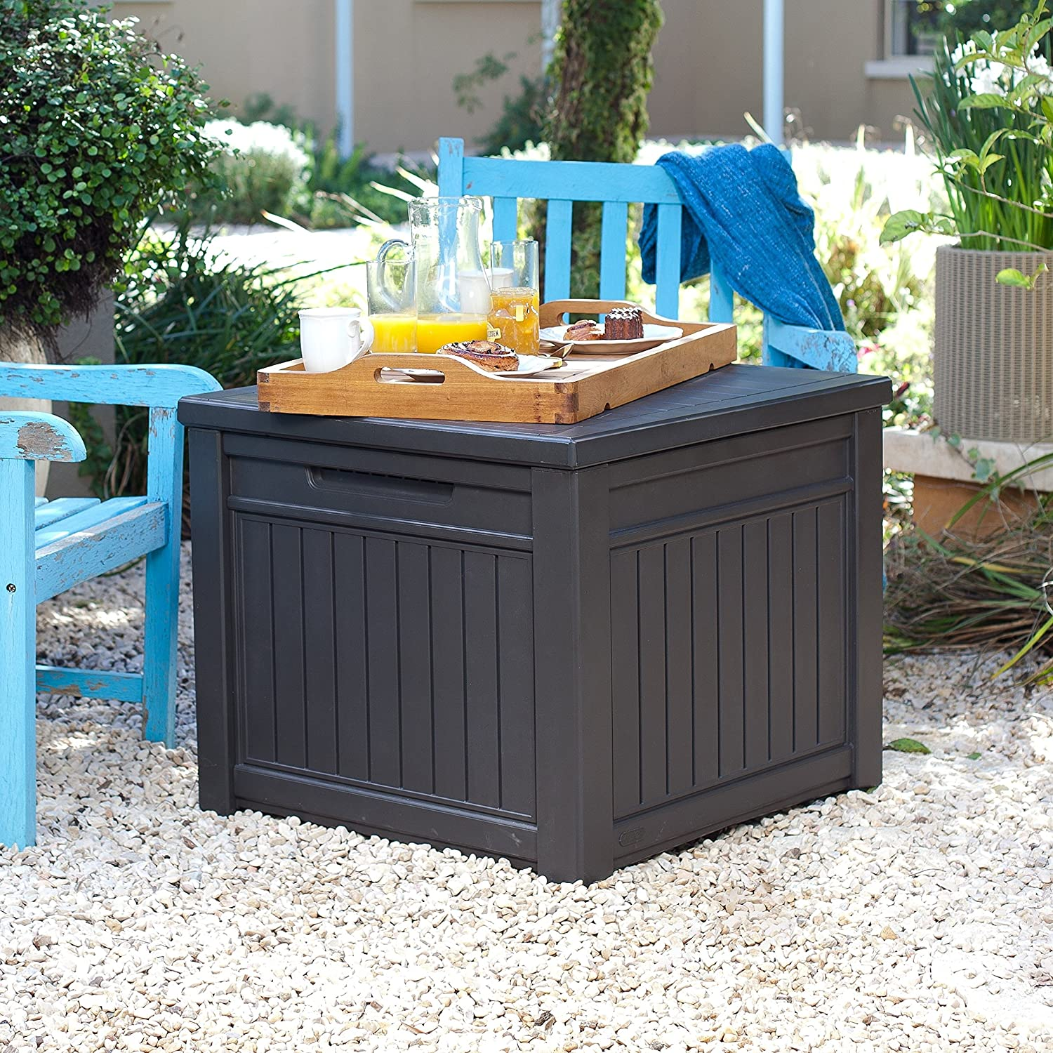 Wonderful Amazon.com : Keter Cube Wood Look 55 Gallon All Weather Garden Patio Storage  Table Or Bench : Patio, Lawn U0026 Garden