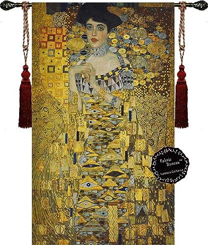 Fabric Bureau Beautiful Gustav Klimt Portrait Adele Bloch-Bauer I 35.5 w X 54.5 l Fine Tapestry Jacquard Woven Wall Hanging Art Deco