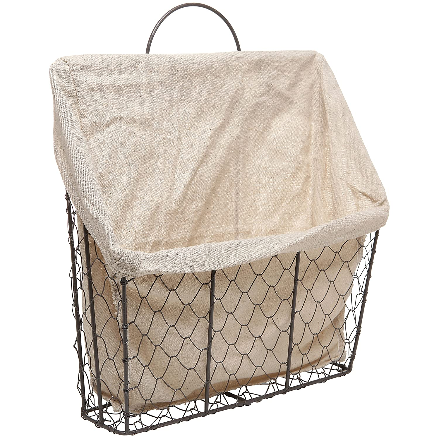 Country Rustic Wall Mounted Metal Wire Hanging Magazine / Mail Storage Basket Bin w/ Beige Linen Fabric MyGift TB-HOM0172BEI