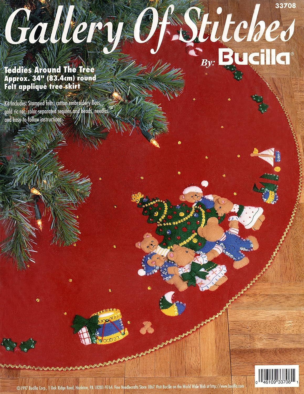 Bucilla Teddies Around the Tree Felt Applique Tree Skirt 33708