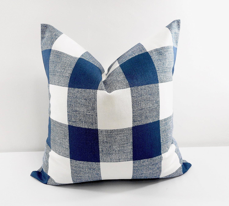 Blue & white Buffalo check Pillow cover. Sham cover. Select size.