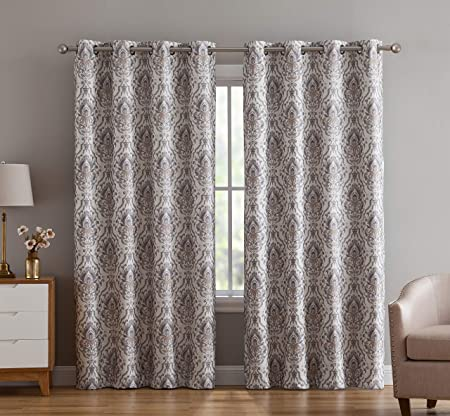 HLC.ME Verona Damask 100 Full Blackout Room Darkening Thermal Insulated Curtain Grommet Panels for Bedroom – Energy Efficient, Complete Darkness, Noise Reducing- Set of 2 Neutral, 52 W x 63 L