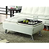 Coaster Home Furnishings Dilleston Tufted Storage Ottoman - White Faux Leather