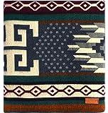 "Ecuadane Large Southwestern Artisan Woven Blanket, Handmade in Ecuador, Size 82"" x 93"" - Color Tungurahua Polkadot"