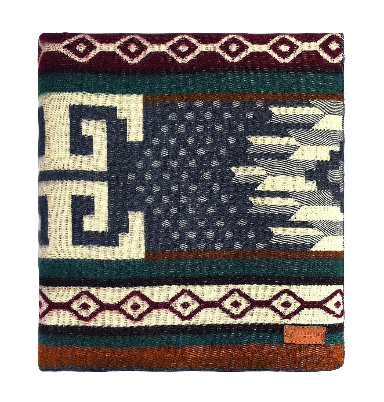 ecuadane Authentic Southwestern tunurahua、鮮やかな色とトライバルパターンヨガThrow Blanket XL 93 x 82 B071J78882