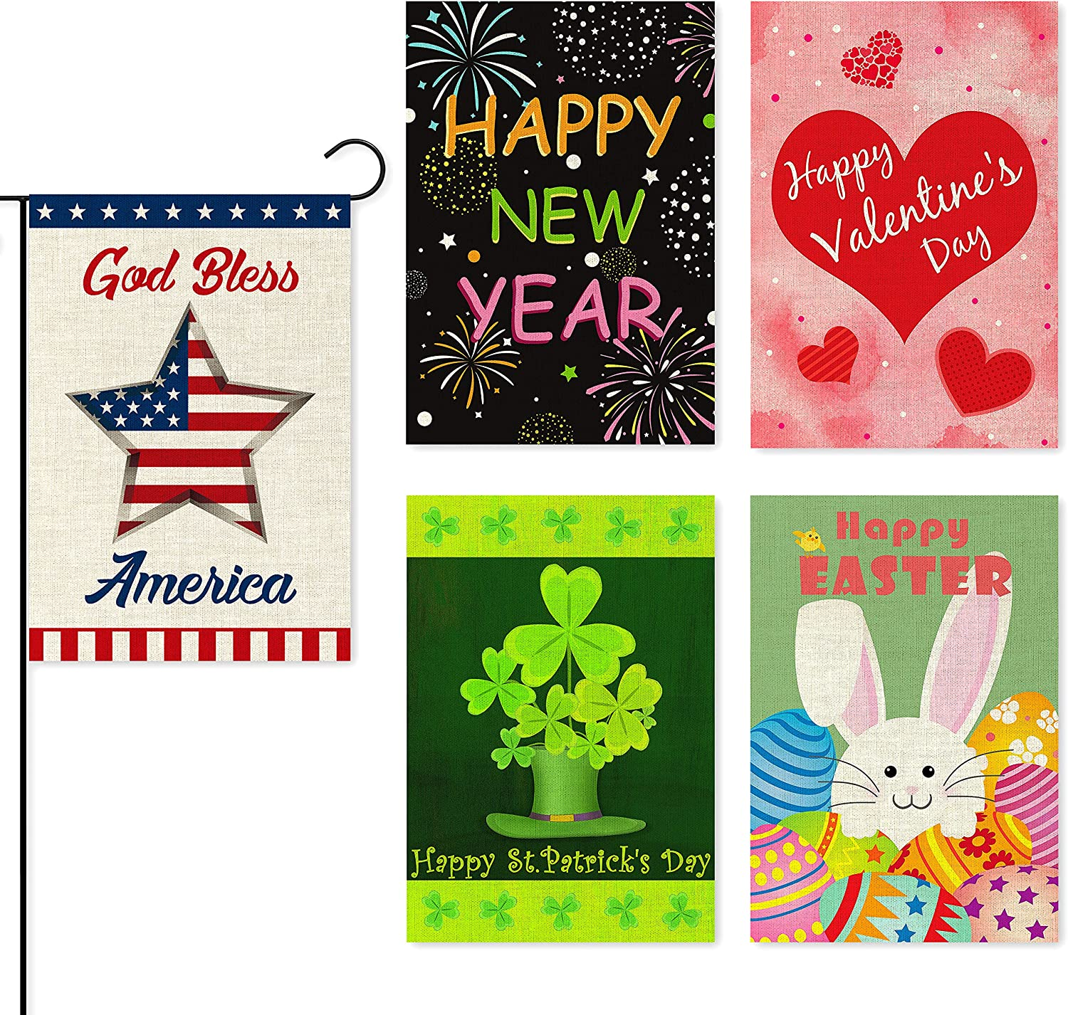 WATINC 5Pcs Welcome Garden Flag for Happy New Year Holiday Decorations Valentine's Day St. Patrick's Easter Independence Day Double Sided Burlap Seasonal House Flags for Outdoor Yard 12.4 x 18.2 Inch