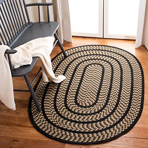 Safavieh Braided Collection BRD401G Hand Woven Beige and Black Oval Area Rug 3 x 5 Oval