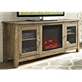 "WE Furniture 58"" Wood Media TV Stand Console with Fireplace - Barnwood"