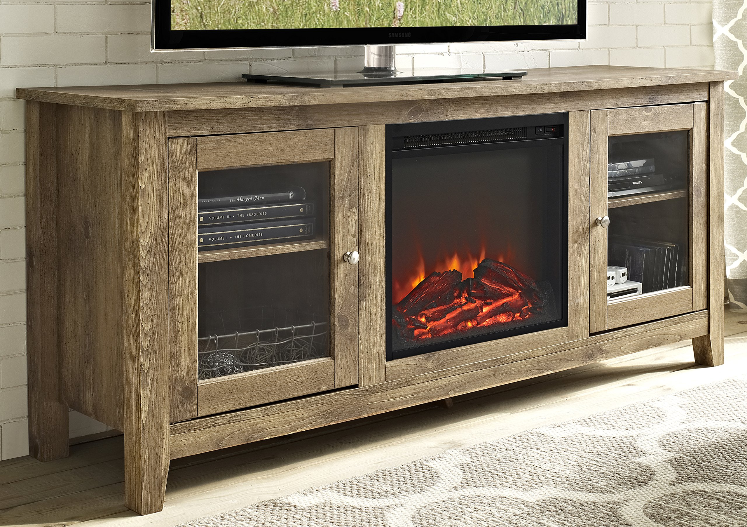 WE Furniture 58'' Wood Media TV Stand Console with Fireplace - Barnwood