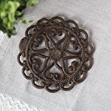 Cast Iron Trivet | Round with Vintage - Pattern