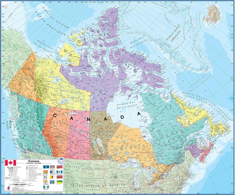 Canadá laminado de pared Mapa: Amazon.es: Oficina y papelería