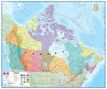 amazoncom round world products canada laminated map map of canada office products