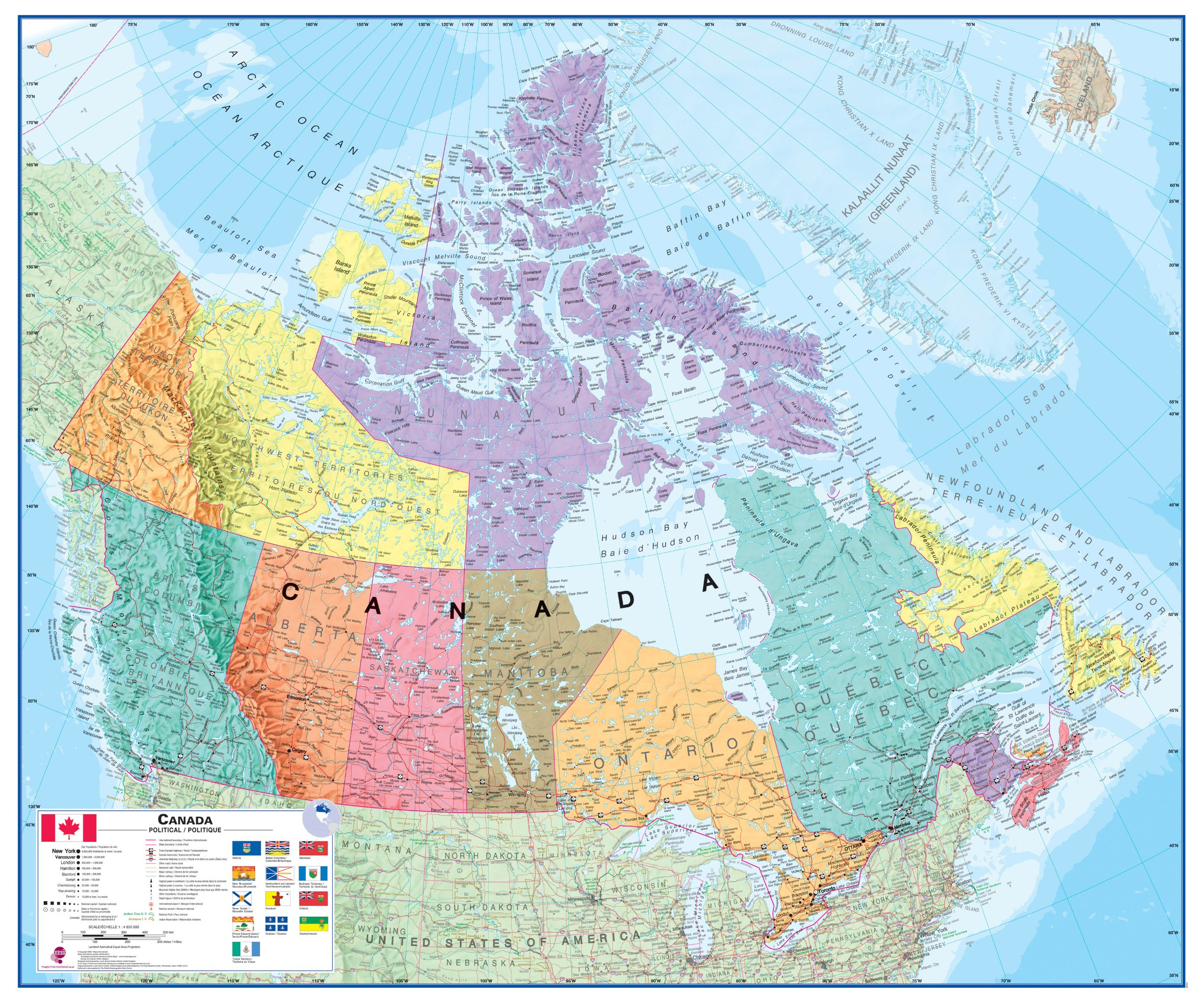 Round World Products Canada Laminated Map: Maps International Ltd ...