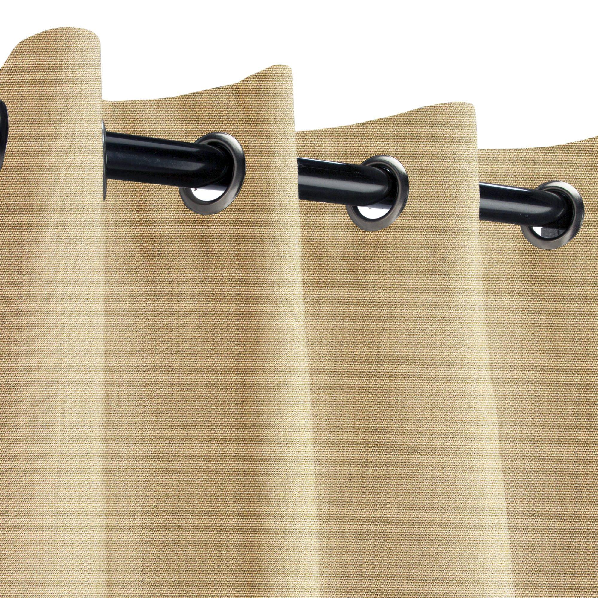 Sunbrella Canvas Heather Beige Outdoor Curtain with Nickel Grommets 50 in. Wide x 108 in. Long