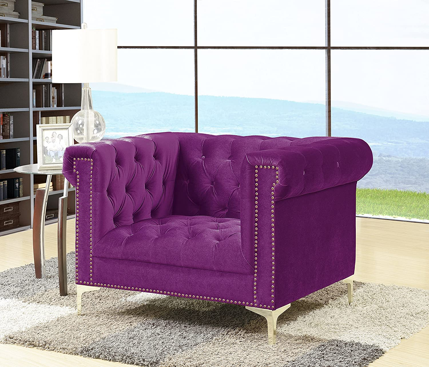 Iconic Home Gold/Purple Bea Velvet with Nail head Trim Tone Metal Club Chair