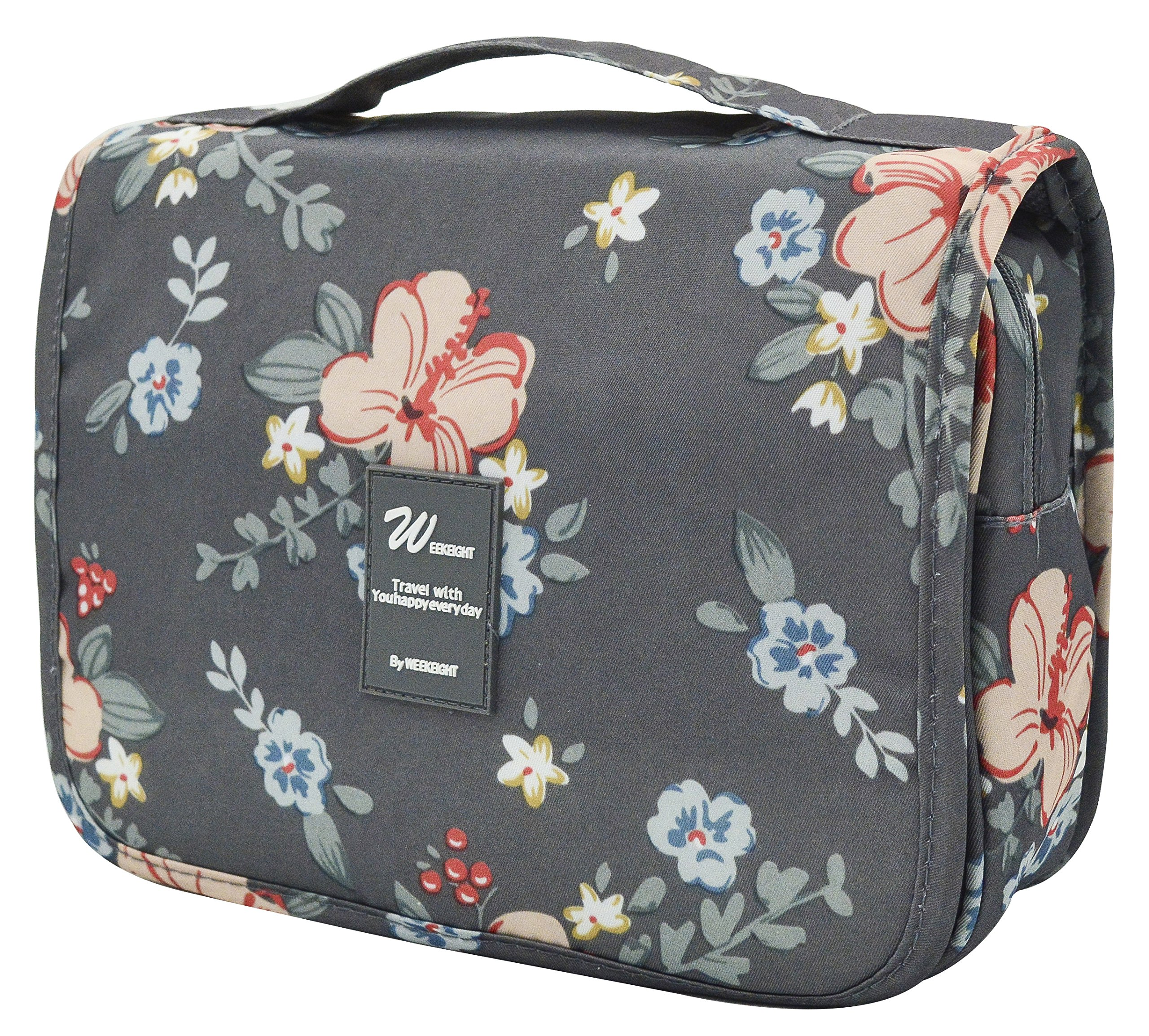 Adigow Hanging Toiletry Bag - Portable Waterproof Cosmetic Makeup Wash Bag for Men & Women - Travel Kit Organizer with Sturdy Hook (Dark Grey Flowers)