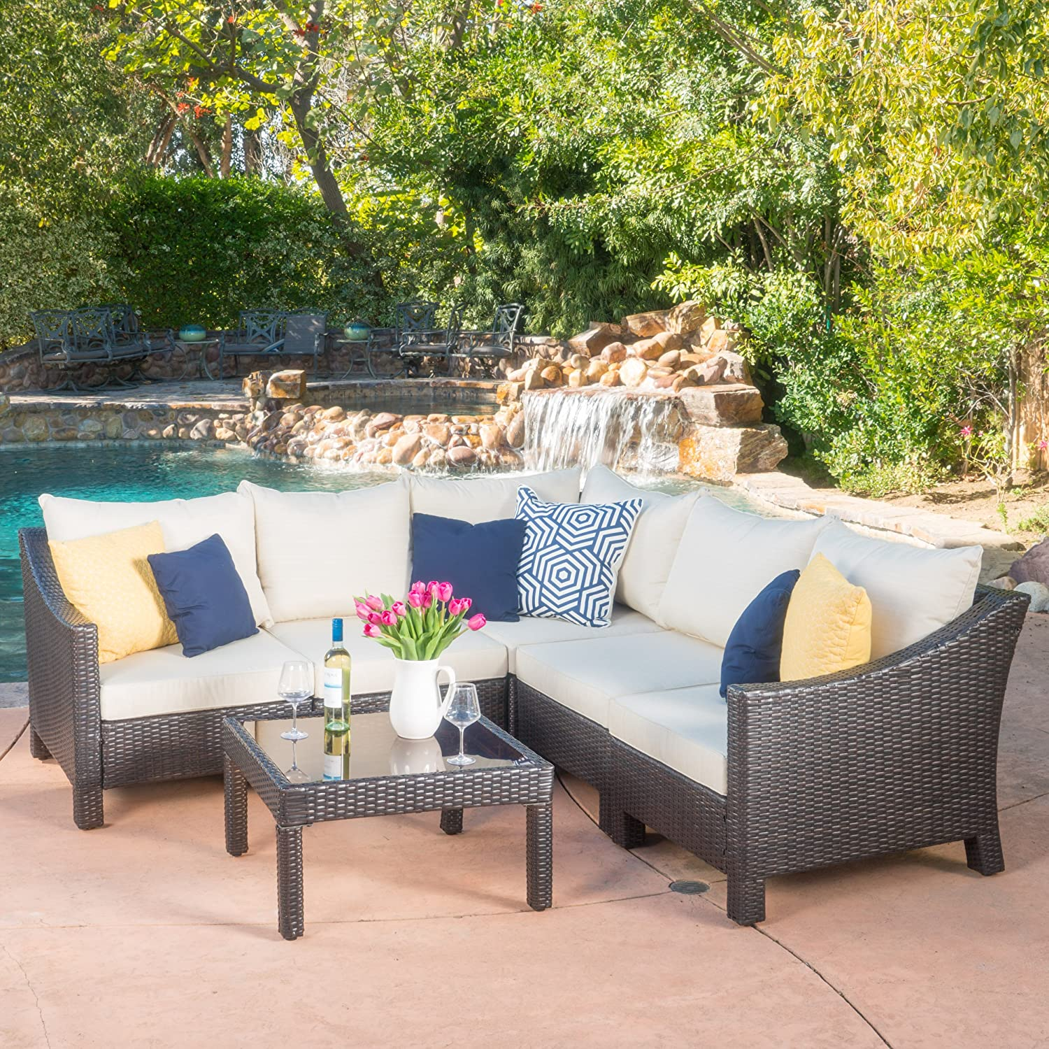 Amazon.com Caspian 6 Piece Outdoor Wicker Furniture Patio Sectional Sofa Set Kitchen u0026 Dining : wicker sectional - Sectionals, Sofas & Couches