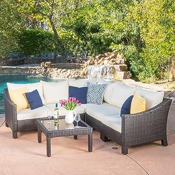 Caspian 6 Piece Outdoor Wicker Furniture Patio Sectional Sofa Set