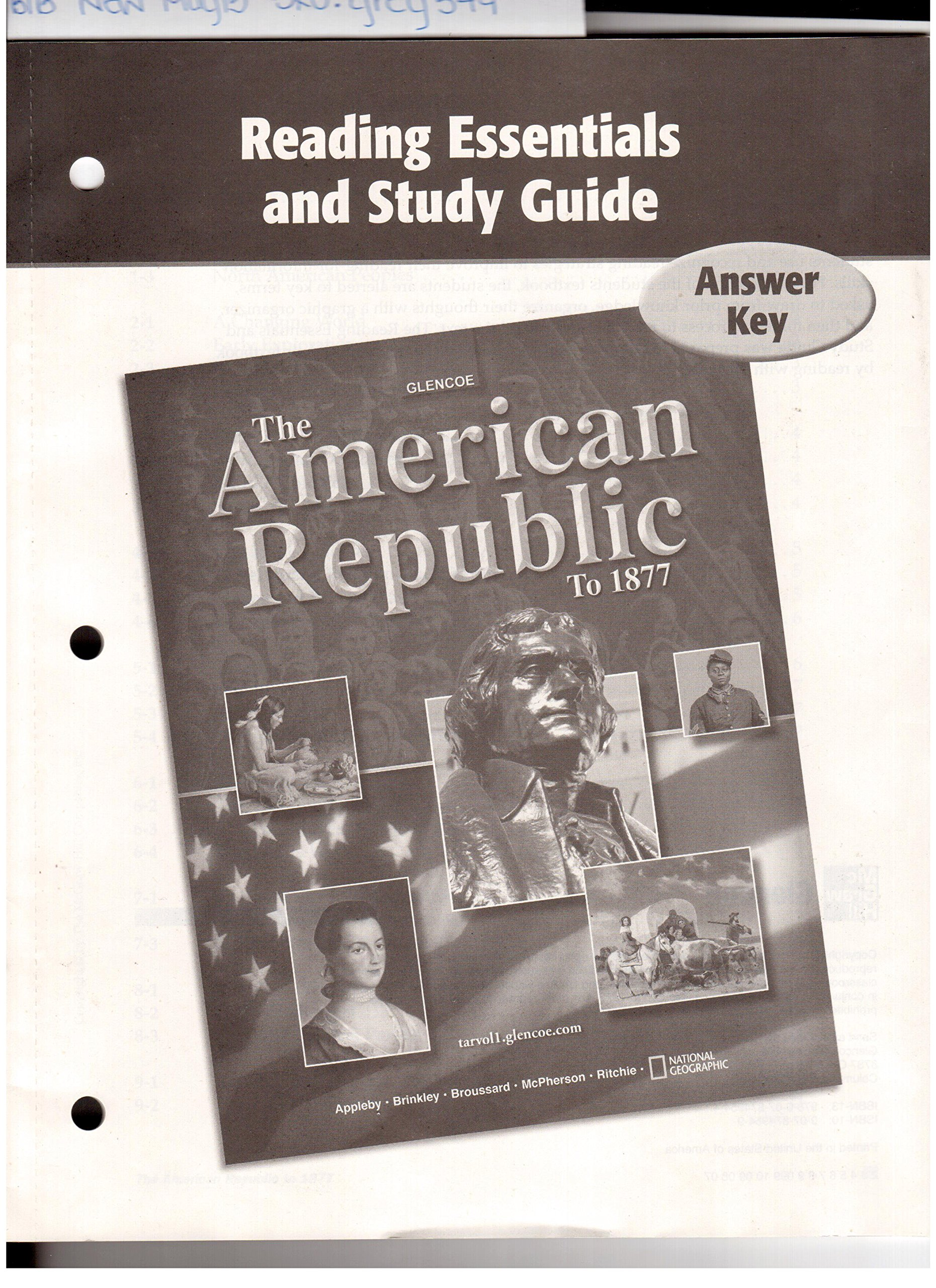Uncategorized Glencoe Mcgraw-hill Worksheet Answers reading essentials and study guide answer key glencoe the american republic to 1877 appleby brinkley 9780078749544 amazon com boo