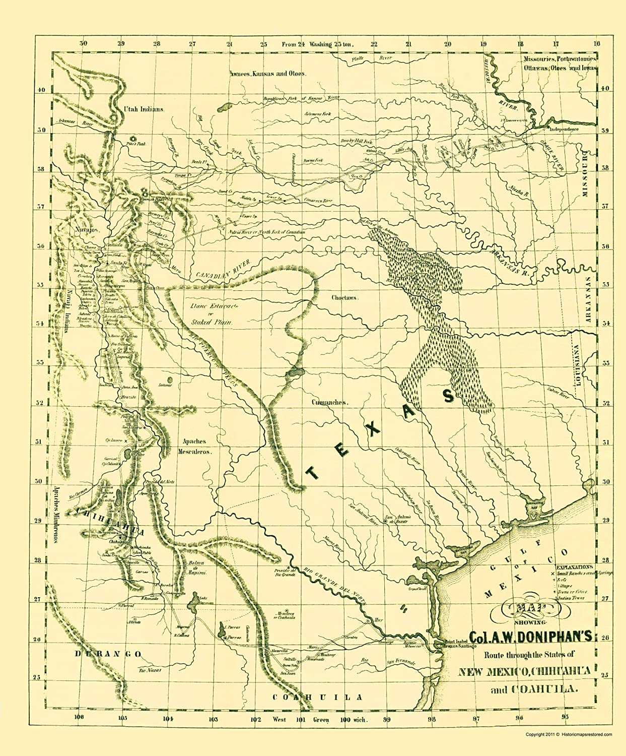 Old North America Map.Amazon Com Old North America Map Col A W Doniphan S Route 1847