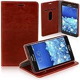 Logic Seek Case für Samsung Galaxy Note Edge Hülle Leder Flip Cover Schutzhülle - Rote Lederhülle im Book-Style mit Standfunktion und Kartenfach für Samsung Galaxy Note Edge - Rot