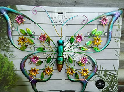 Home Decor LARGE FLORAL BUTTERFLY METAL WALL ART GARDEN ORNAMENTS INDOOR  OUTDOOR STATUES