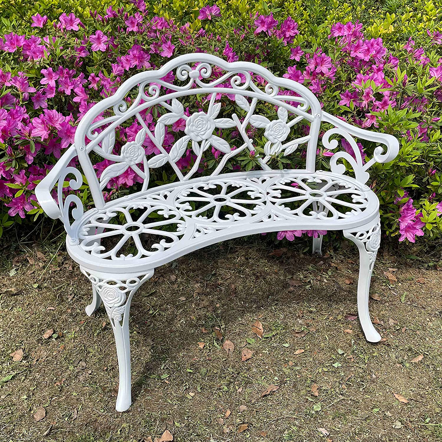 Outdoor Bench Park Garden Bench, All Chair Anti Rust Cast Aluminum Patio Yard Bench Carved Rose Loveseat Bench for Backyard, Porch, Balcony, Lawn (White)