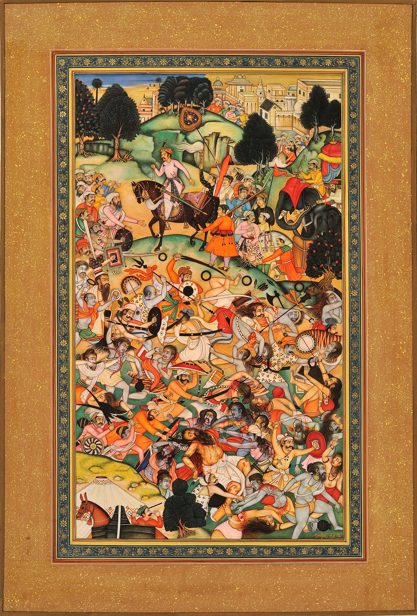 Two Groups of Ascetics Battling - From the Akbarnama - Water Color Painting on Paper - Artist: Kaila