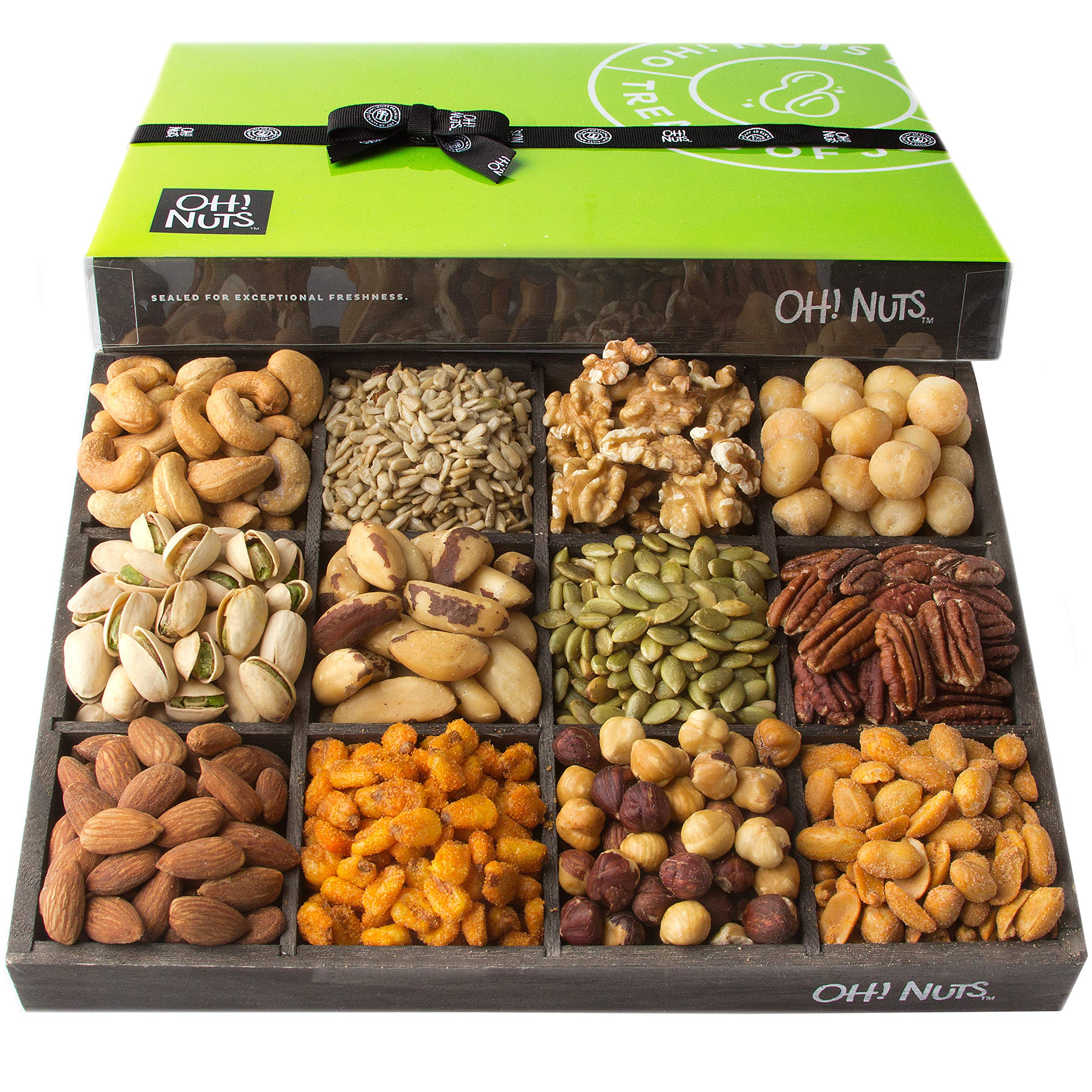 Oh! Nuts 12 Variety Mixed Nut Gift Basket, Holiday Freshly Roasted Healthy Gourmet Snack Gifts| Premium Wood Tray | Prime Christmas Food Baskets for Men & Women, Fathers & Mother's Day Unique Idea by Oh! Nuts (Image #2)