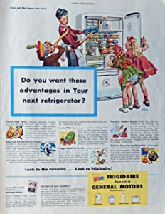 Albert Dorne. Rare 40's Color Illustration, (Frigidaire ad) original vintage 1946 Ladies Home Journal Magazine Print Art