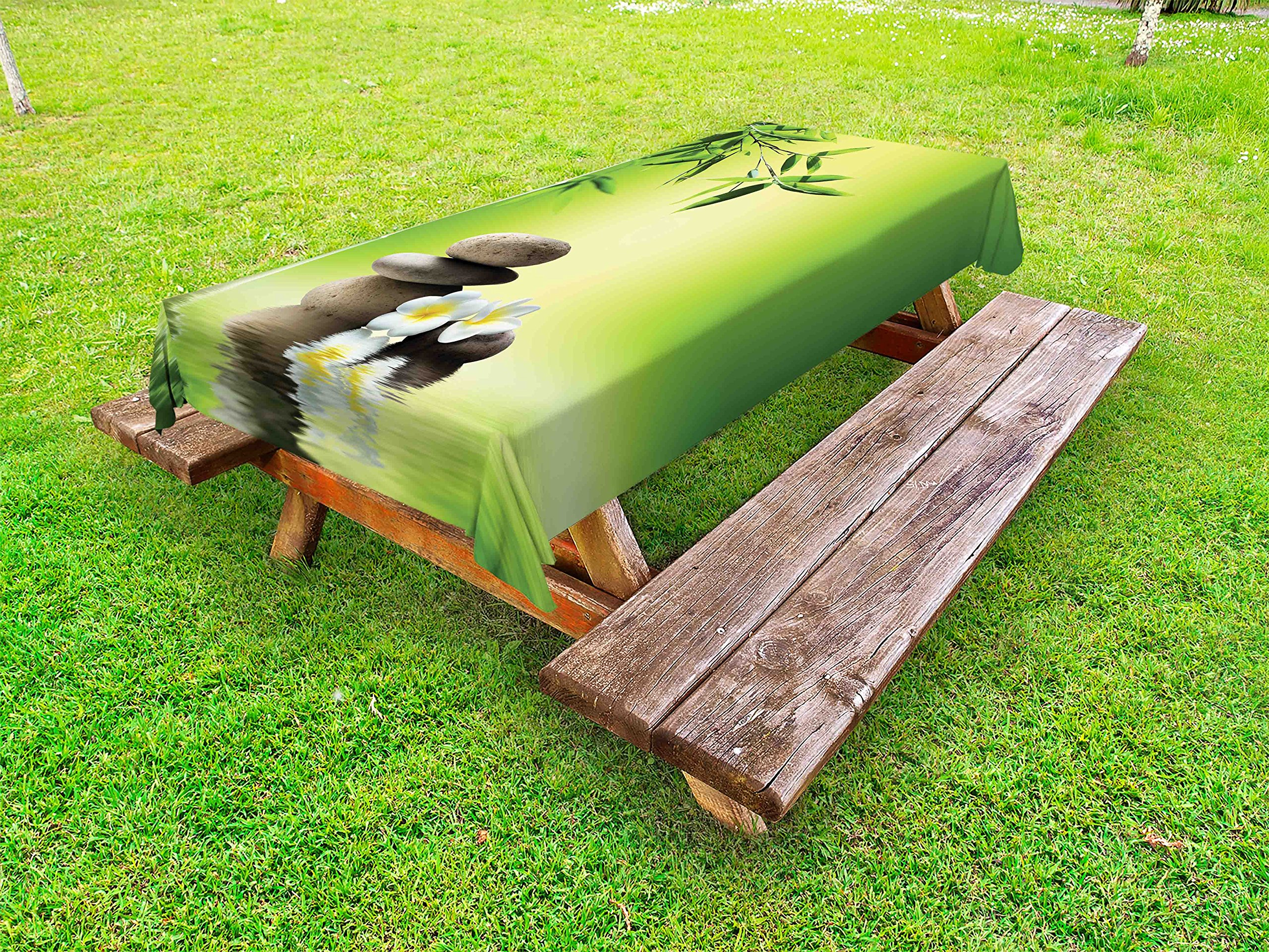 Lunarable Spa Outdoor Tablecloth, Japanese Therapy Relaxation Stones Frangipani Flowers Bamboo Tree Healthcare Theme, Decorative Washable Picnic Table Cloth, 58 X 120 inches, Green Yellow
