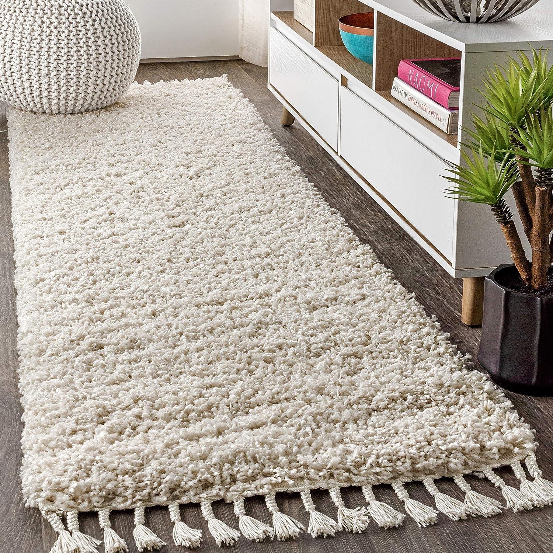 Rug Shaggy Long Pile Living Room Cheap Shaggy Check Brown White Beige