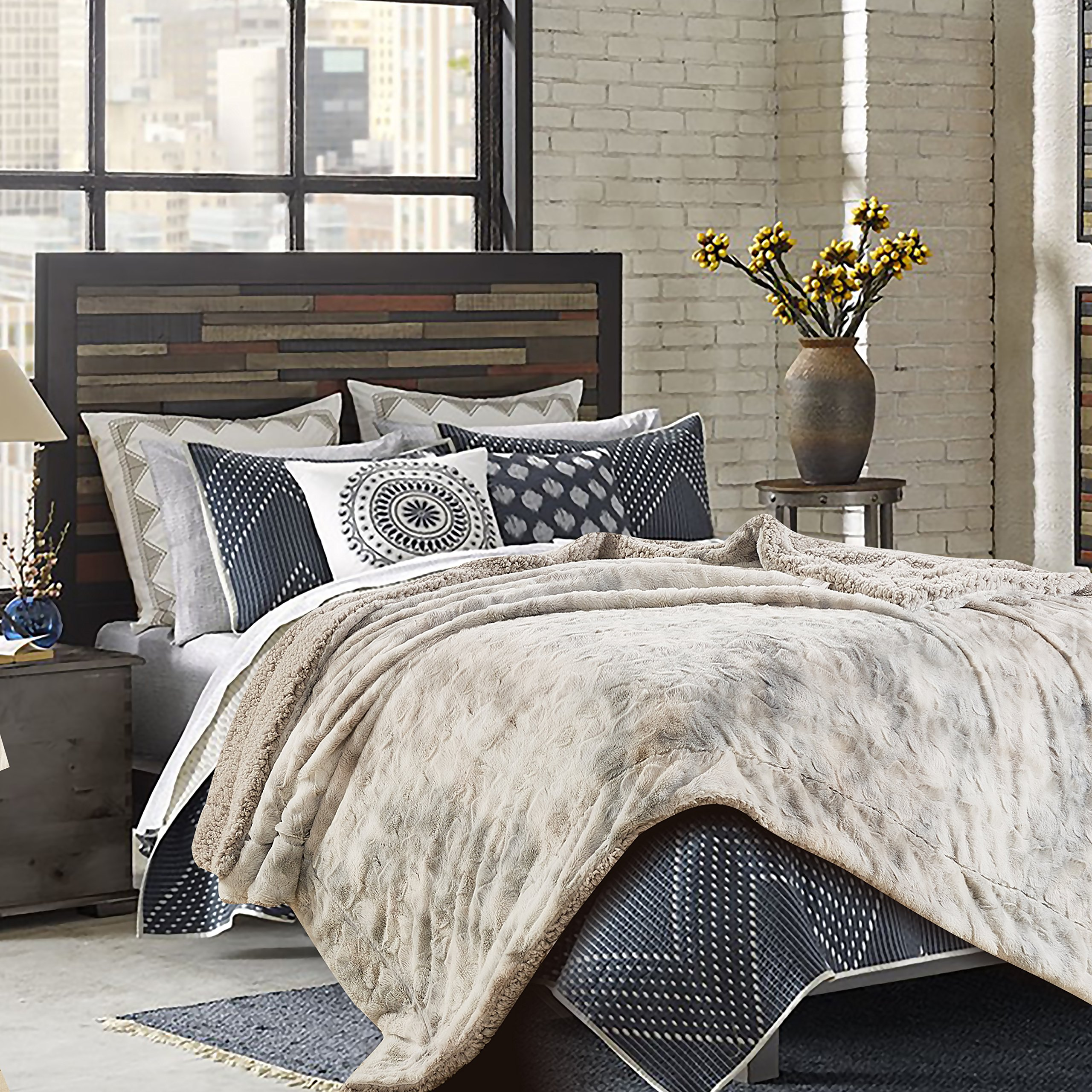 pillows cozy bedspreads bed fur throws urbanbarn toss this bedding and keep faux with winter pin