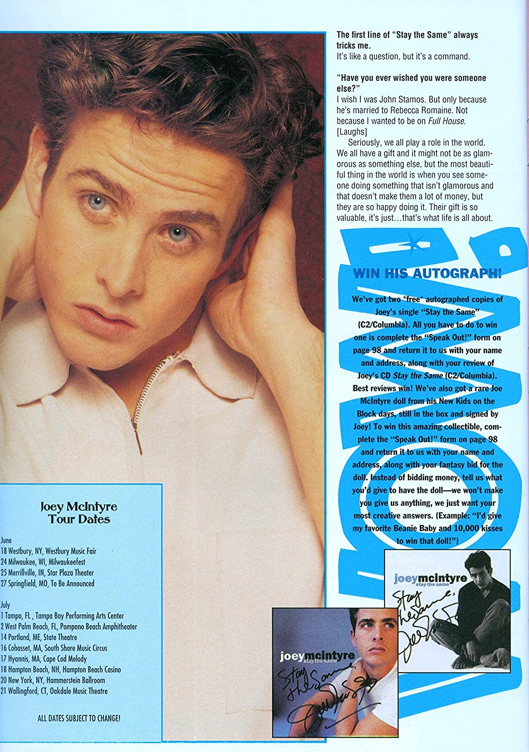 NKOTB Joey Mcintyre New Kids On The Block 11 x 8 Teen Magazine Clipping Poster Pinup
