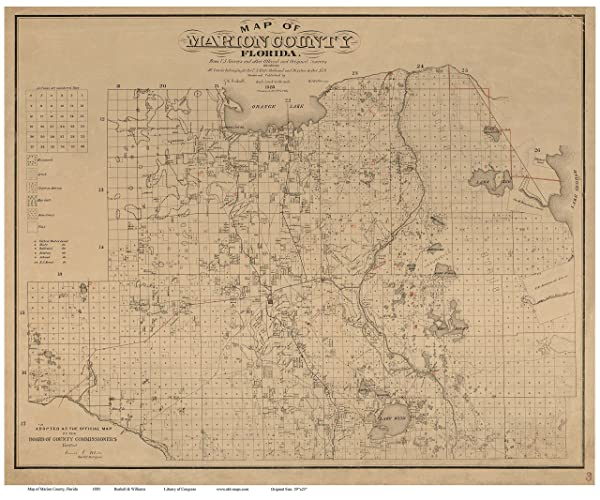 Marion County Florida Map.Amazon Com Marion County Florida 1885 Wall Map With Homeowner Names