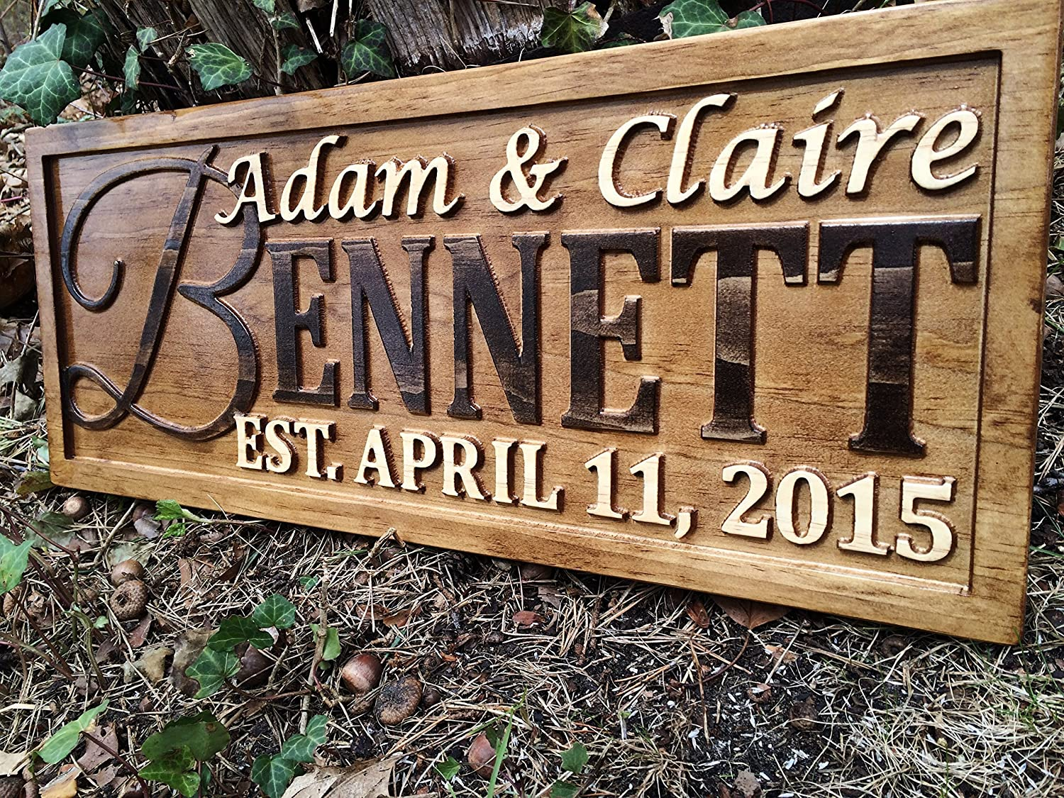 Amazon Com Personalized Family Name Sign Personalized Wedding Gifts Wall Art Rustic Home Decor Custom Carved Wooden Signs Couples 5 Year Wood Anniversary Gift Handmade