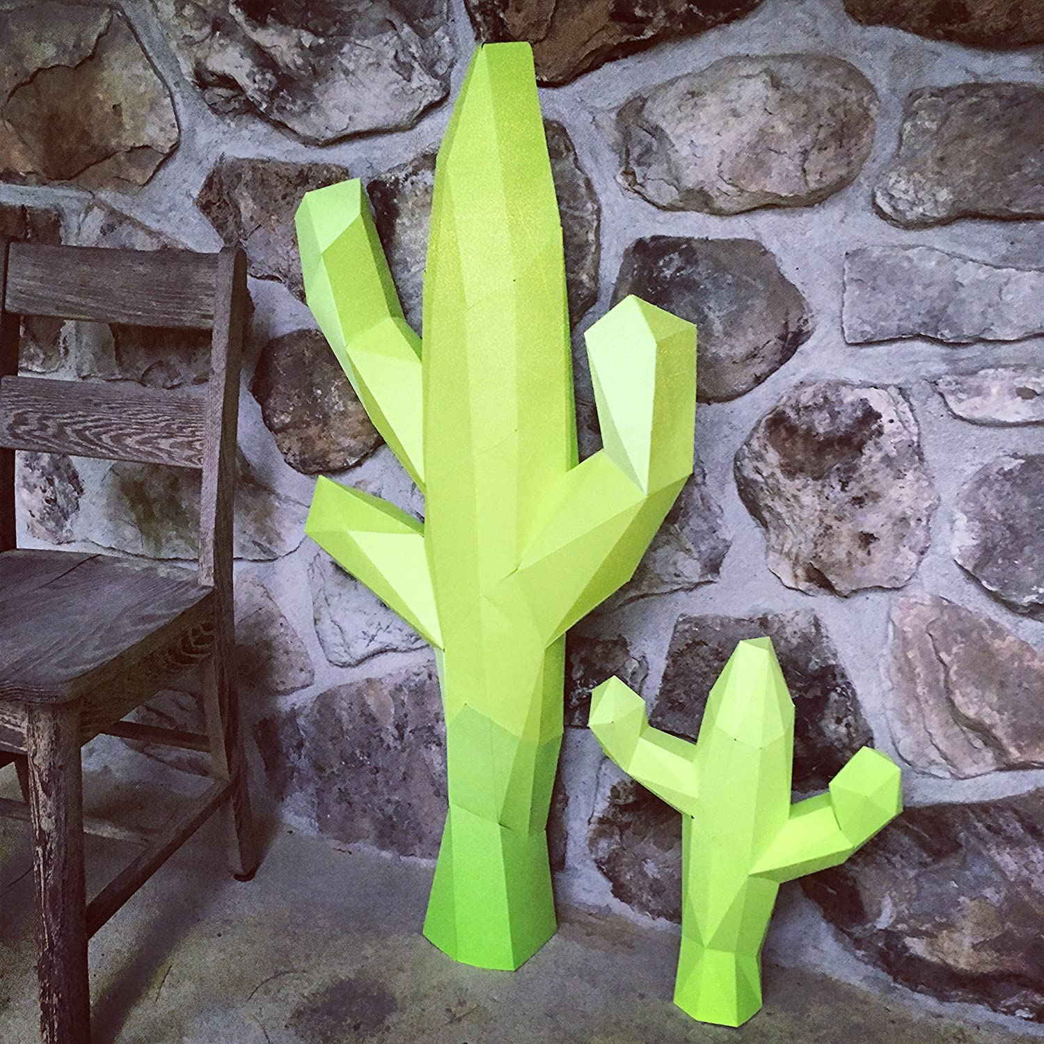 Cactus 3d papercraft KIT. Kit contains card stock paper template for this DIY (do it yourself) paper sculpture.